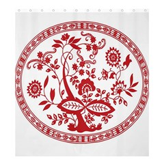 Red Vintage Floral Flowers Decorative Pattern Shower Curtain 66  X 72  (large)