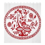 Red Vintage Floral Flowers Decorative Pattern Shower Curtain 66  x 72  (Large)  58.75 x64.8 Curtain
