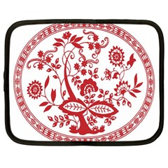 Red Vintage Floral Flowers Decorative Pattern Netbook Case (xl)