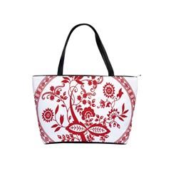 Red Vintage Floral Flowers Decorative Pattern Shoulder Handbags