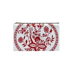 Red Vintage Floral Flowers Decorative Pattern Cosmetic Bag (small)