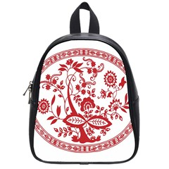 Red Vintage Floral Flowers Decorative Pattern School Bags (small)