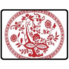 Red Vintage Floral Flowers Decorative Pattern Fleece Blanket (large)