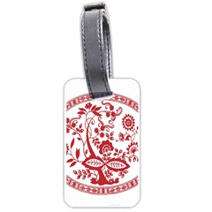 Red Vintage Floral Flowers Decorative Pattern Luggage Tags (One Side)
