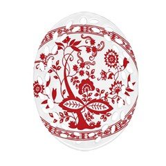 Red Vintage Floral Flowers Decorative Pattern Oval Filigree Ornament (two Sides)