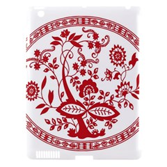 Red Vintage Floral Flowers Decorative Pattern Apple iPad 3/4 Hardshell Case (Compatible with Smart Cover)