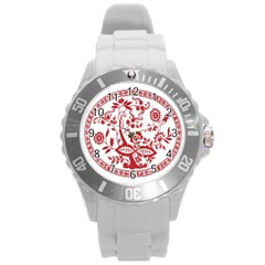 Red Vintage Floral Flowers Decorative Pattern Round Plastic Sport Watch (L)