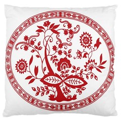 Red Vintage Floral Flowers Decorative Pattern Large Cushion Case (Two Sides)