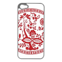 Red Vintage Floral Flowers Decorative Pattern Apple iPhone 5 Case (Silver)
