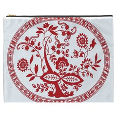 Red Vintage Floral Flowers Decorative Pattern Cosmetic Bag (XXXL)