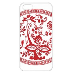 Red Vintage Floral Flowers Decorative Pattern Apple iPhone 5 Seamless Case (White)
