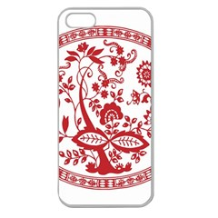 Red Vintage Floral Flowers Decorative Pattern Apple Seamless iPhone 5 Case (Clear)