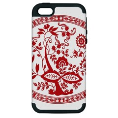 Red Vintage Floral Flowers Decorative Pattern Apple iPhone 5 Hardshell Case (PC+Silicone)