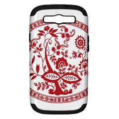 Red Vintage Floral Flowers Decorative Pattern Samsung Galaxy S III Hardshell Case (PC+Silicone)