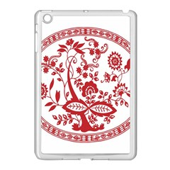 Red Vintage Floral Flowers Decorative Pattern Apple iPad Mini Case (White)
