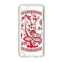 Red Vintage Floral Flowers Decorative Pattern Apple iPod Touch 5 Case (White)