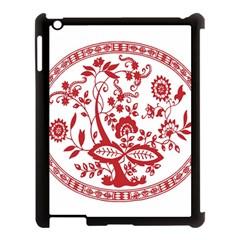 Red Vintage Floral Flowers Decorative Pattern Apple iPad 3/4 Case (Black)