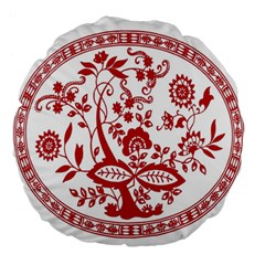 Red Vintage Floral Flowers Decorative Pattern Large 18  Premium Round Cushions