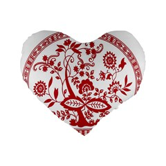 Red Vintage Floral Flowers Decorative Pattern Standard 16  Premium Heart Shape Cushions
