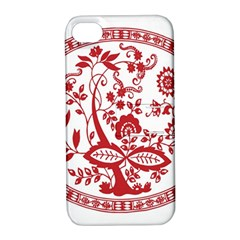 Red Vintage Floral Flowers Decorative Pattern Apple iPhone 4/4S Hardshell Case with Stand