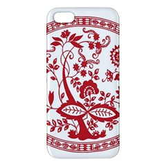 Red Vintage Floral Flowers Decorative Pattern Apple iPhone 5 Premium Hardshell Case