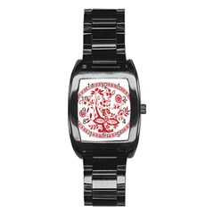 Red Vintage Floral Flowers Decorative Pattern Stainless Steel Barrel Watch