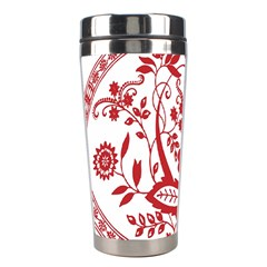 Red Vintage Floral Flowers Decorative Pattern Stainless Steel Travel Tumblers