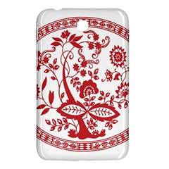 Red Vintage Floral Flowers Decorative Pattern Samsung Galaxy Tab 3 (7 ) P3200 Hardshell Case