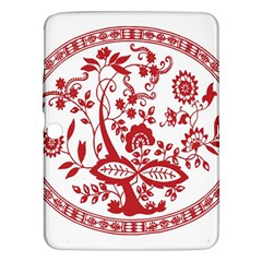 Red Vintage Floral Flowers Decorative Pattern Samsung Galaxy Tab 3 (10.1 ) P5200 Hardshell Case