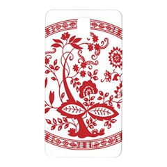 Red Vintage Floral Flowers Decorative Pattern Samsung Galaxy Note 3 N9005 Hardshell Back Case