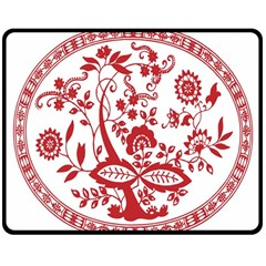 Red Vintage Floral Flowers Decorative Pattern Double Sided Fleece Blanket (Medium)