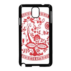 Red Vintage Floral Flowers Decorative Pattern Samsung Galaxy Note 3 Neo Hardshell Case (Black)