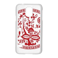 Red Vintage Floral Flowers Decorative Pattern Samsung Galaxy S5 Case (White)