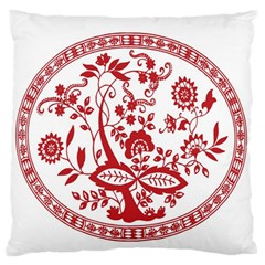 Red Vintage Floral Flowers Decorative Pattern Large Flano Cushion Case (One Side)