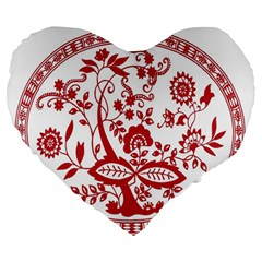 Red Vintage Floral Flowers Decorative Pattern Large 19  Premium Flano Heart Shape Cushions