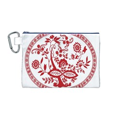 Red Vintage Floral Flowers Decorative Pattern Canvas Cosmetic Bag (M)