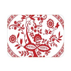 Red Vintage Floral Flowers Decorative Pattern Double Sided Flano Blanket (Mini)