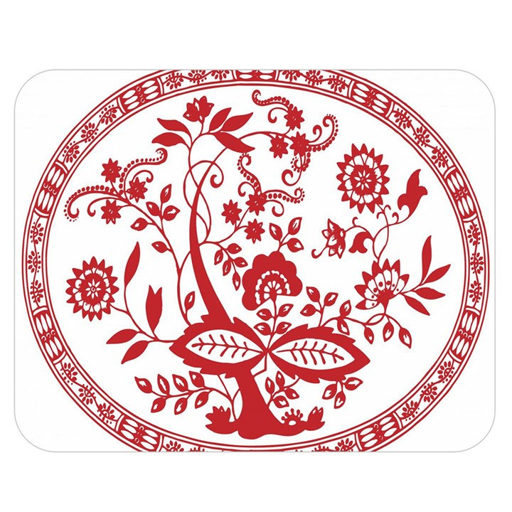 Red Vintage Floral Flowers Decorative Pattern Double Sided Flano Blanket (Medium)