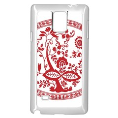 Red Vintage Floral Flowers Decorative Pattern Samsung Galaxy Note 4 Case (White)
