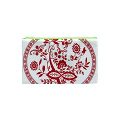 Red Vintage Floral Flowers Decorative Pattern Cosmetic Bag (XS)