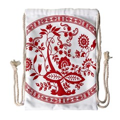 Red Vintage Floral Flowers Decorative Pattern Drawstring Bag (Large)
