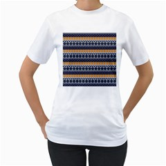 Abstract Elegant Background Pattern Women s T-Shirt (White) (Two Sided)