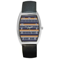 Abstract Elegant Background Pattern Barrel Style Metal Watch
