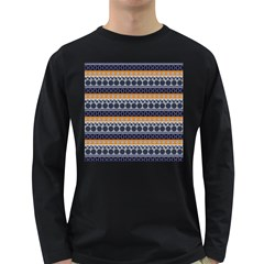 Abstract Elegant Background Pattern Long Sleeve Dark T-Shirts
