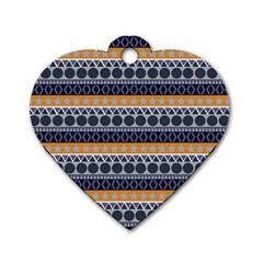 Abstract Elegant Background Pattern Dog Tag Heart (one Side)