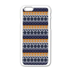 Abstract Elegant Background Pattern Apple iPhone 6/6S White Enamel Case