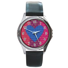 Butterfly Heart Pattern Round Metal Watch