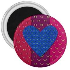 Butterfly Heart Pattern 3  Magnets