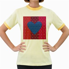 Butterfly Heart Pattern Women s Fitted Ringer T Shirts