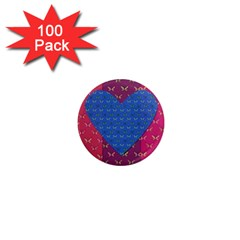 Butterfly Heart Pattern 1  Mini Magnets (100 pack)
